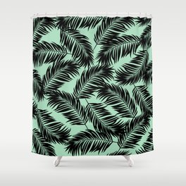 Palm Frond Tropical Décor Leaf Pattern Black on Mint Green Shower Curtain