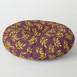 Leaves pattern - Maroon yellow Floor Pillow