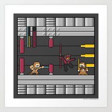 Mega Boss Battles - Darth Maul vs. Obiwan & Qui Gon Art Print