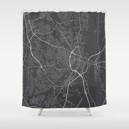 Fayetteville Map, USA - Gray Shower Curtain