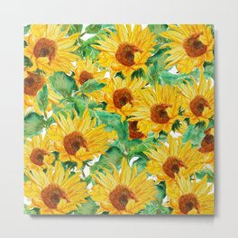 sunflower pattern Metal Print
