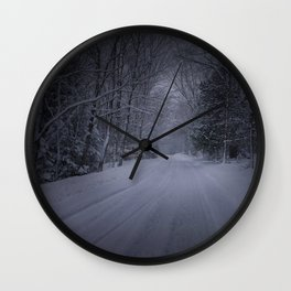 Lonely Winter Road Wall Clock