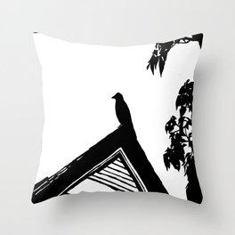 Crow Silhouette Throw Pillow
