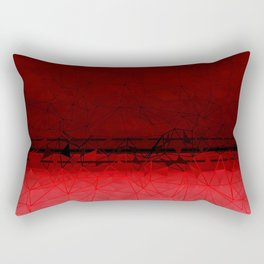 Deep Ruby Red Ombre with Geometrical Patterns Rectangular Pillow