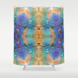 Aquamarine Opal Gemstone Marble Rock Mineral Pattern Shower Curtain