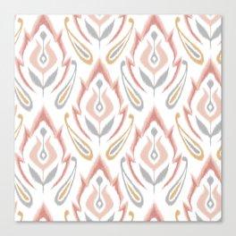 Peachy Ikat Canvas Print