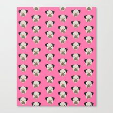 Pug face pattern print pink bright fur baby pet portrait pug dog breeds dog art must have dog person Canvas Print