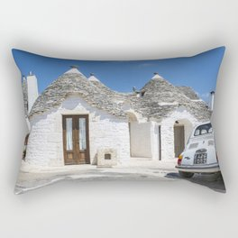 Classic Car Fiat 500 at Trulli Houses in Southern Italy Rectangular Pillow