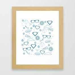 Supergirl/Kara's pattern - blue Framed Art Print