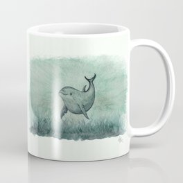 """""""Notches"""" by Amber Marine ~ Indian River Lagoon dolphin art, watercolor painting, (Copyright 2013) Coffee Mug"""