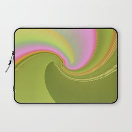 Pink and Green Curves Fractal Abstract Art Laptop Sleeve