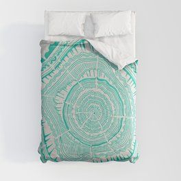 Turquoise Tree Rings Comforters