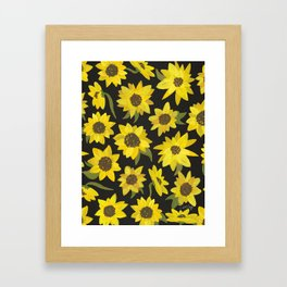 Sunflowers Acrylic on Charcoal Framed Art Print
