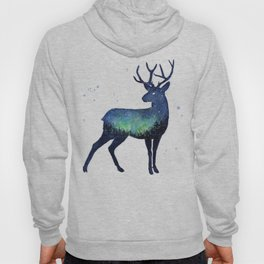 Galaxy Reindeer Silhouette with Northern Lights Hoody