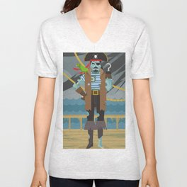 ghost pirate undead zombie in ship Unisex V-Neck