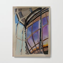 Sunset on the Lighthouse Lens Metal Print