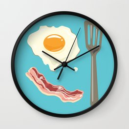bacon & eggs, blue Wall Clock