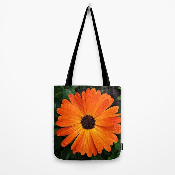 SMILE - DAISY FLOWER #3 #Orange #Raindrops Tote Bag