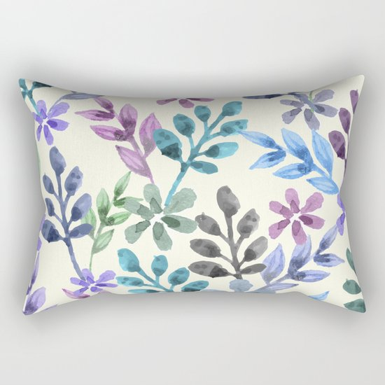 Watercolor Floral Pattern Rectangular Pillow