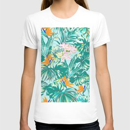Bird of Paradise Hawaii Rainforest Tropical Leaves Pastels T-shirt