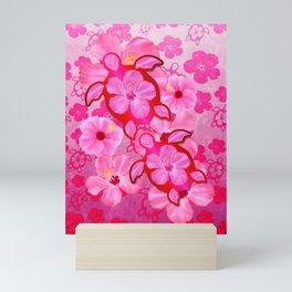 Pink Hibiscus And Honu Turtles Mini Art Print