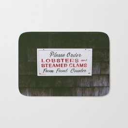 Lobster Sign in Maine Bath Mat