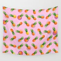 pineapple Wall Tapestries featuring pineapple by mark ashkenazi