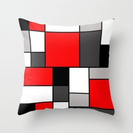 Red Black and Grey squares Throw Pillow