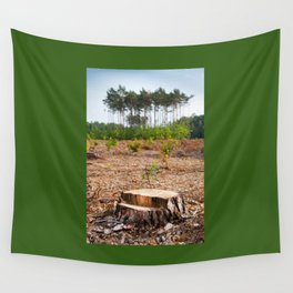 Woods logging one stump after deforestation Wall Tapestry