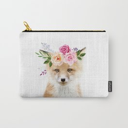 Baby Fox with Flower Crown Carry-All Pouch