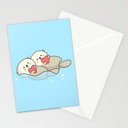 Otter Love Swim Stationery Cards
