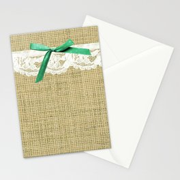 girly burlap and lace with mint green bow Stationery Cards