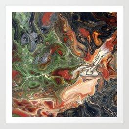 Green Rust Black Brown Lava Flow Art Print