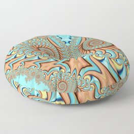 Owl Fractal Turquoise and Orange Floor Pillow