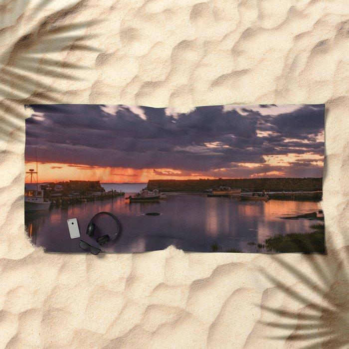 Rainy Lanescove Sunset Beach Towel