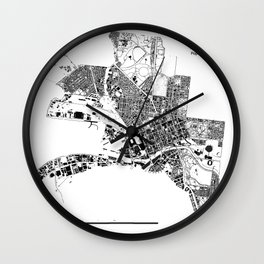 MELBOURNE BLACK & WHITE MAP Wall Clock