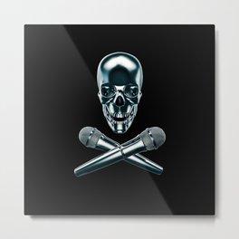 Pirate tunes / 3D render of skull and cross bones with microphones Metal Print