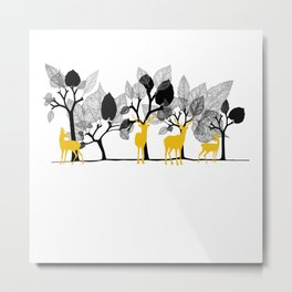 Trees & Deers Metal Print