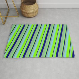 Sky Blue, Chartreuse, Blue & Dark Sea Green Colored Lines Pattern Rug
