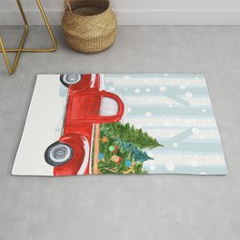 Christmas Red PickUp Truck on a Snowy Road Rug