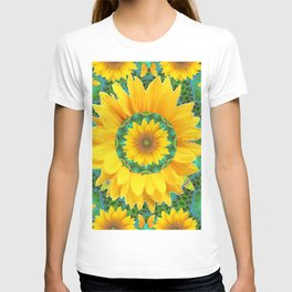 BOHEMIAN YELLOW FLORAL & BUTTERFLIES GREEN PATTERN ART T-shirt