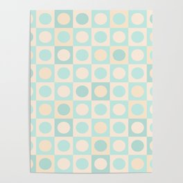 Dots and Squares Mixer in pale peach and mint Poster