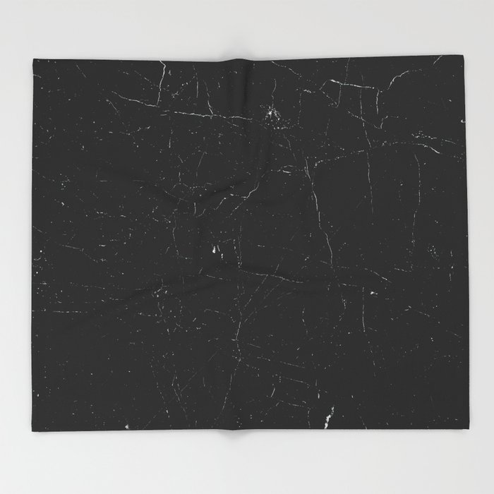 Black distressed marble texture Throw Blanket