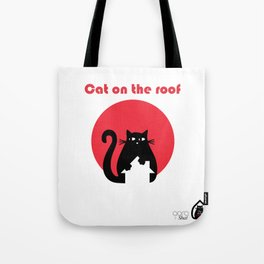 """""""Cat on the roof"""" by Qora and Shaï Tote Bag"""