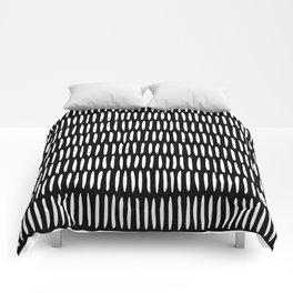 Classy Handpainted Stripes Pattern Black, Scandinavian Design Comforters