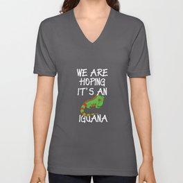 Funny Pregnant Design Hoping It's An Iguana Unisex V-Neck