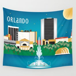 Orlando, Florida - Skyline Illustration by Loose Petals Wall Tapestry
