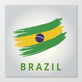 Abstract Brazil Flag Design Canvas Print