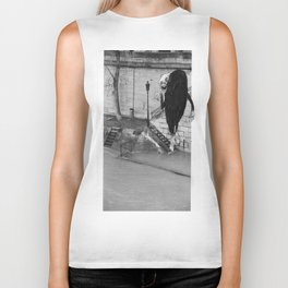 Monster stepping on stairs Biker Tank