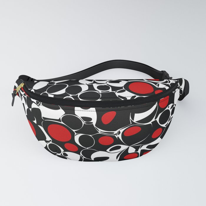 Abstract Olives in Red, Black and White Fanny Pack